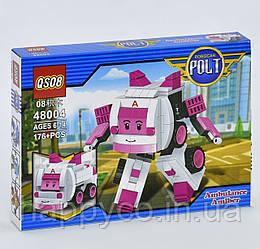 Конструктор 2в1 Робокар поли 176 дет, в коробке