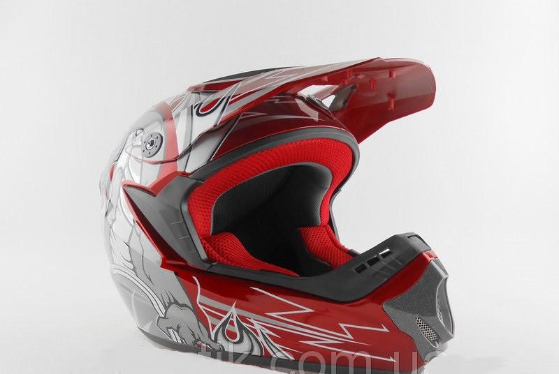 Шлем для мотоцикла (мотошлем) Hel-met HF-117 (Корея) красный