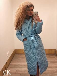 Женское демисезонное пальто с поясом 42-46 р