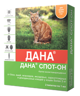 Дана СПОТ-ОН капли против блох на холку для кошек, 3*1мл