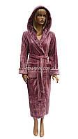 Теплый плюшевый халат Nusa сиренево-розовый NS-3640