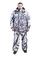 Зимний костюм для охоты и рыбалки Белый камуфляж, непродуваемый, тёплый и надежный, все размеры 60-62