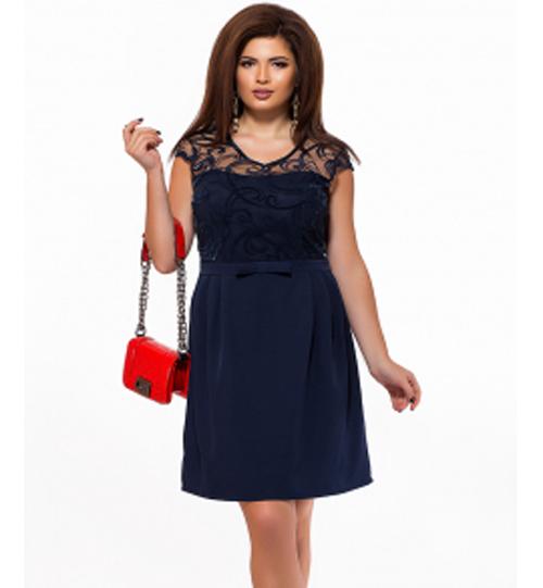 a360f8d0a04876f Вечернее платье с коротким рукавом для полных темно-синий 825587 ...