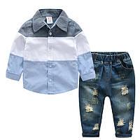 Костюм с джинсами и рубашкой, размеры: 120, 140