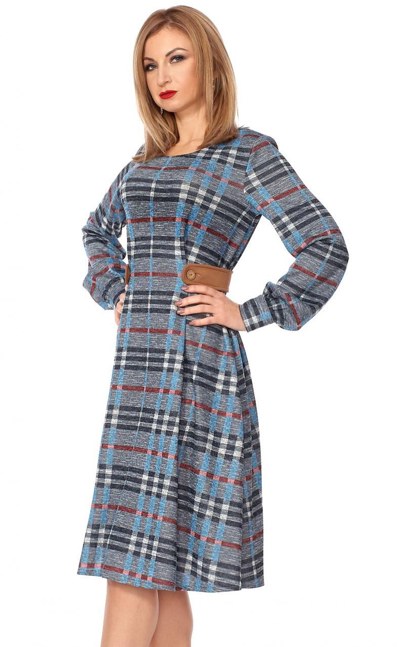 c1f1c366d72 Теплое платье в клетку синего цвета с длинным рукавом. Модель 1112. Размеры  42-