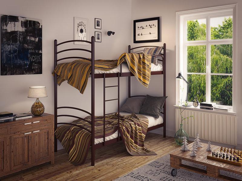 Кровать металлическая двухъярусная Маранта TM Tenero
