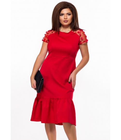 74953b5693775b5 Красное платье для полных вставки сетки 825594 купить недорого ...