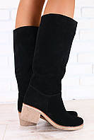 Зимние женские сапоги, замшевые, черные, на меху, на небольшом устойчивом каблуке