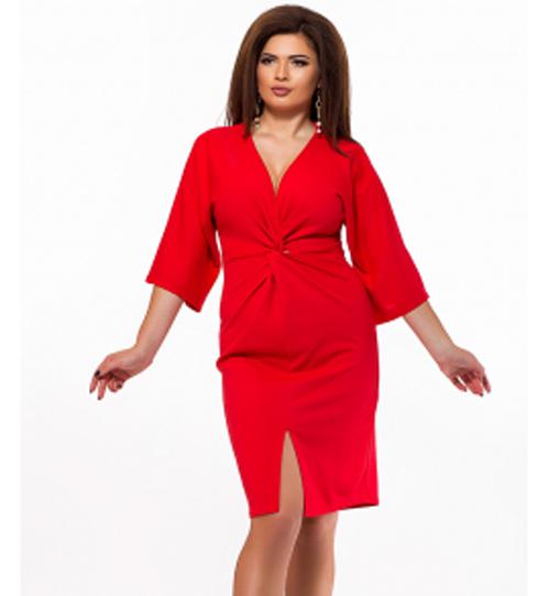 138d26ddf64 Вечернее красное платье для полных с разрезом 825599