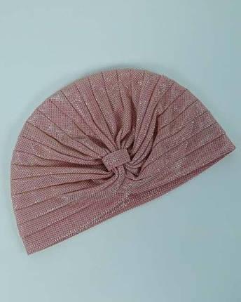 Тюрбан-чалма розовый с блестками, фото 2