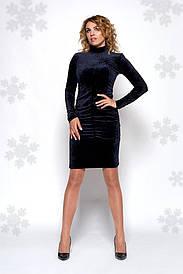 Бархатное женское платье до колена 0442-5