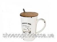 Кружка керамическая Мопед с крышкой и ложечкой