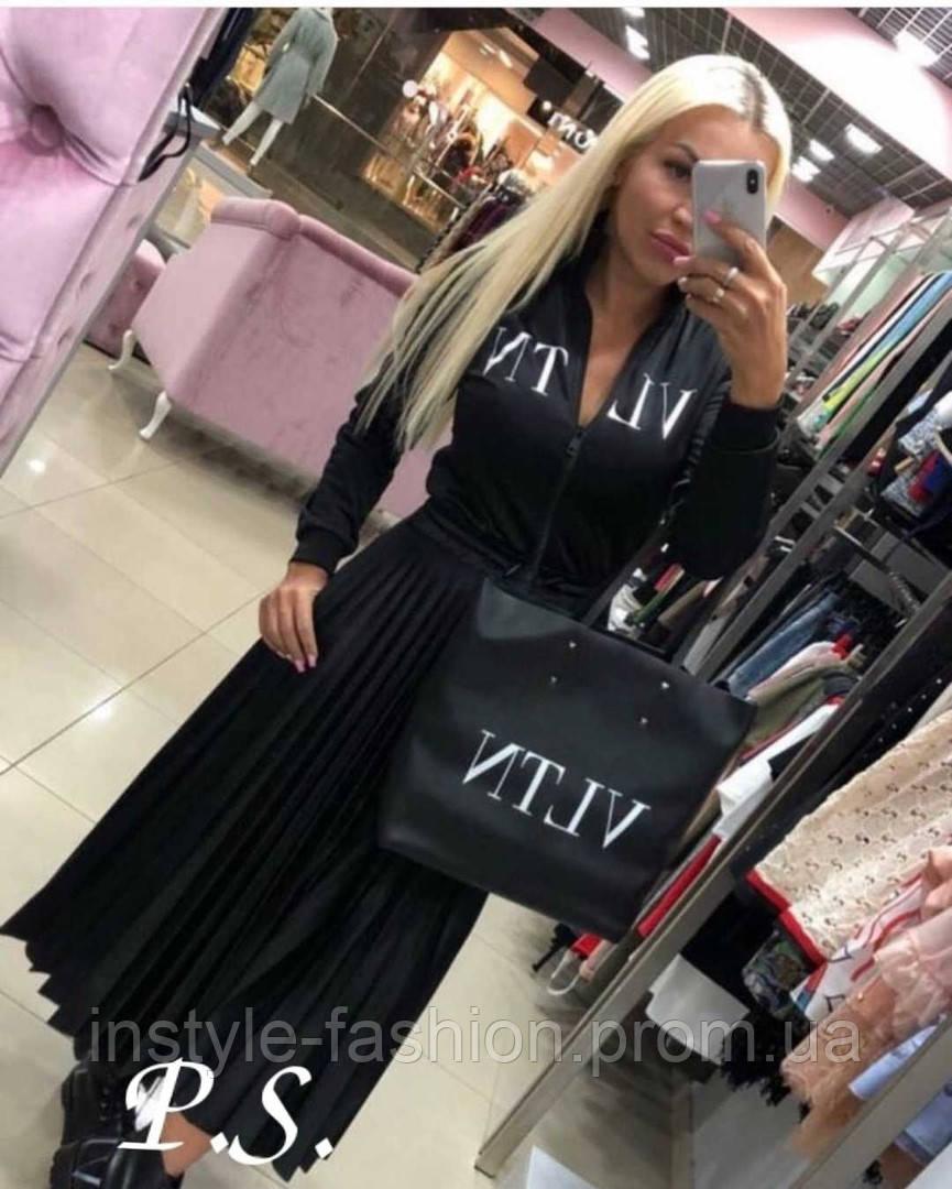 Женское красивое платье с плиссе Valentino Валентино ткань плотный дайвинг черное