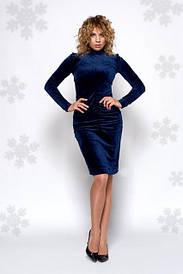 Бархатное женское платье до колена 0442-4