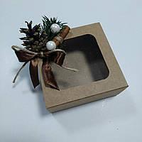 Коробка крафт с новогодним декором 90х90х35 мм, фото 1