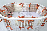 Бортики в кроватку «Коричневые совушки»