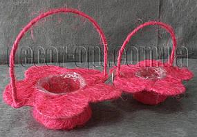 Корзины-цветы розовые из сизали  2 шт