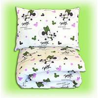 Комплект подушка и одеяло из антиаллергенного силикона Минни, оливковый