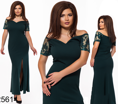 042d529c525 Длинное вечернее платье вышивка на сетке цвет бутылка 825614