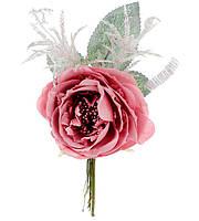 Декоративный искусственный цветок Роза 12см, цвет - розовый, красивый декор, набор 36 шт