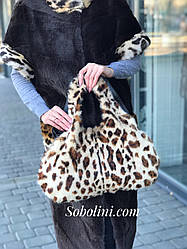 Женская сумка из итальянской кожи с леопардовым принтом