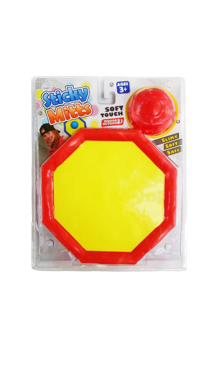 Игра с шариком и терелками на липучках для детей от -х лет Net Playz  STICKY MITTS SLIMY SO