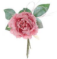 Декоративный искусственый цветок Роза 15см, цвет - состаренный розовый, набор 12 шт