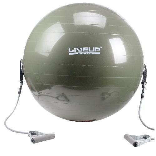 Фитбол с эспандером LiveUp GYM BALL WITH EXPANDER, 65 см, серый, система Анти-Взрыв.