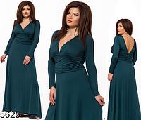 Длинное платье для полных с V-образным вырезом цвет бутылка 825625