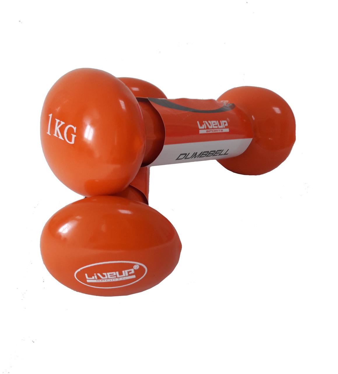 Гантели виниловые LiveUp 2*1 кг для фитнеса и аэробики, бокса, бега, спорта