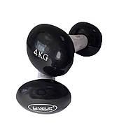 Гантели виниловые 2*4 кг для фитнеса, аэробики и атлетики LiveUp VINYL DUMBBELL EGG HEAD