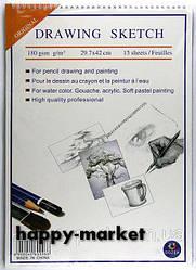 """Акварельная бумага A3 на спирали """"Drawing sketch"""" 15 листов/180 гр."""