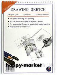 "Акварельная бумага B4 на спирали ""Drawing sketch"" 15 листов/180 гр."