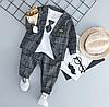 Комплект нарядный пиджак клетка+галстук (сер) 100