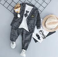 Комплект нарядный пиджак клетка+галстук (сер) 100, фото 1