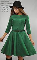 Женское расклешенное платье из экозамши (3072 lp)