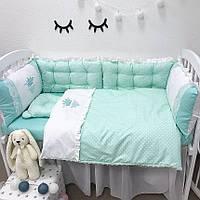 """Комплект в детскую кроватку - подушки """"Мятные сердечки"""""""
