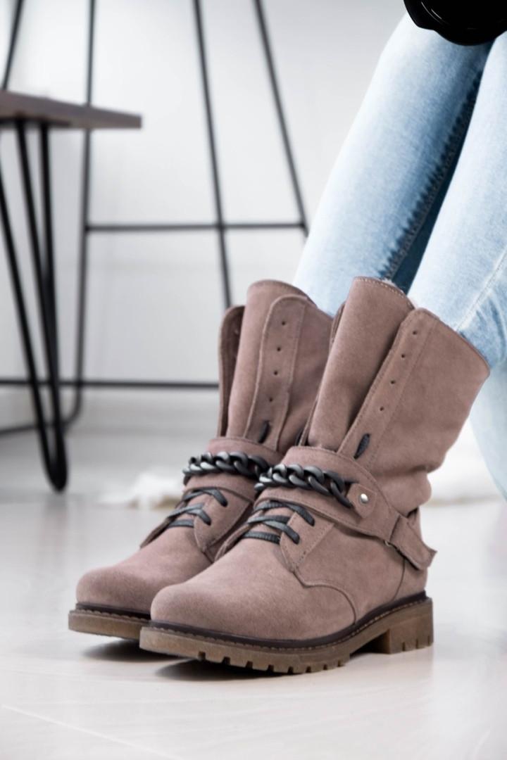 Стильные зимние высокие ботинки с цепью