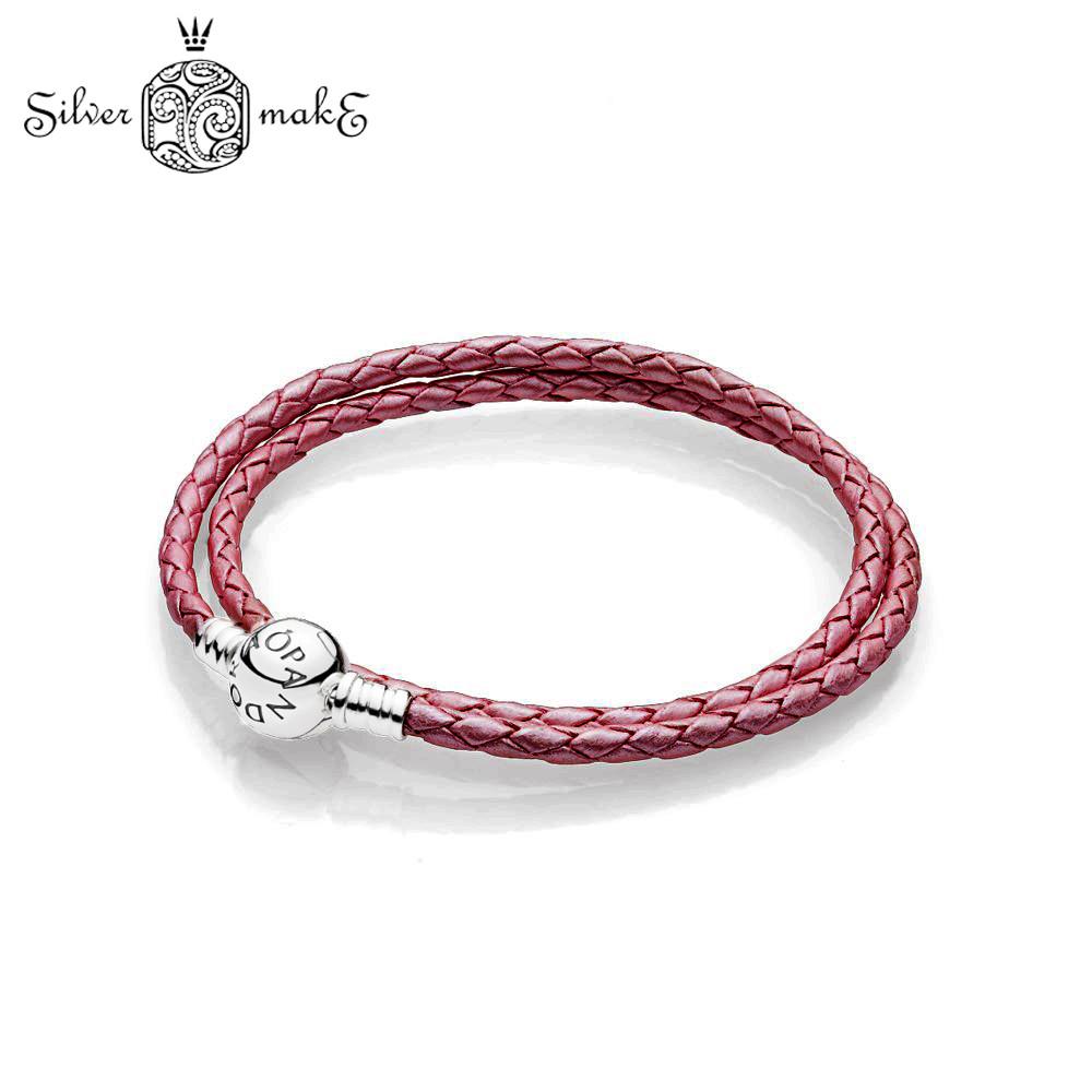 Браслет Pandora Кожаный двойной, Красный, серебро.