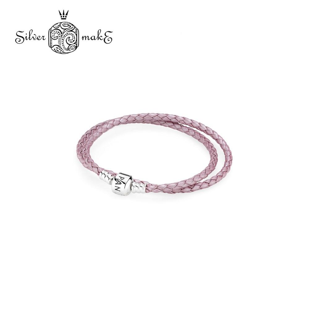 Pandora Кожаный двойной браслет розового цвета с застежкой из серебра