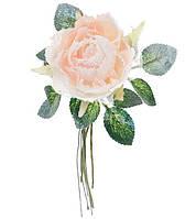Декоративный искусственный цветок Роза 17см с глитером, цвет - кремовый градиент, красивый декор, набор 48 шт
