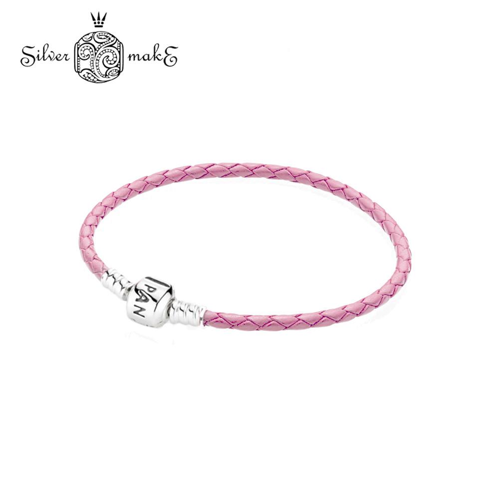 """Браслет Пандора Pandora Кожаный  одинарный, """"Розовый""""  925 проба в стиле Пандора"""