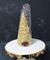 Свеча декоративная у форме новогодней елки с игрушками золотая, фото 1