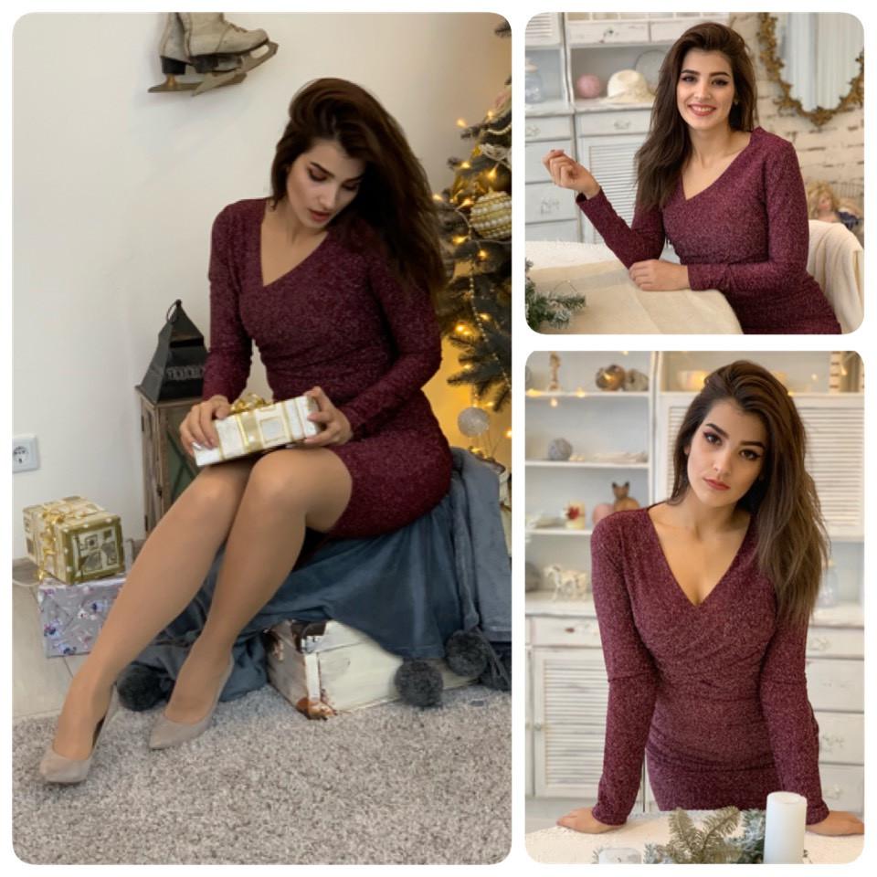 Новинка! Сукня арт (М322), тканина люрекс на дайвінг, колір рубін