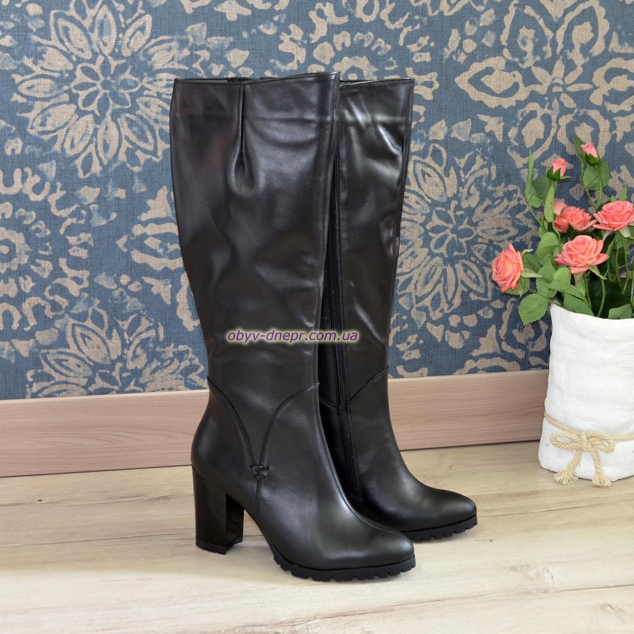 Сапоги кожаные демисезонные на высоком каблуке, классическая модель