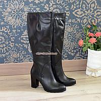 Сапоги кожаные демисезонные на высоком каблуке, классическая модель, фото 1