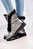 Зимние женские ботинки на шнуровке (никель), фото 6