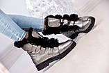 Зимние женские ботинки на шнуровке (никель), фото 4
