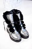 Зимние женские ботинки на шнуровке (никель), фото 8