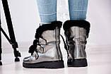 Зимние женские ботинки на шнуровке (никель), фото 7